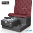 Tiffany single spa bench in truffle laminate base, clear bowl and hollyhock upholstery