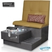 Tiffany single spa bench in truffle laminate base, clear bowl and butterscotch upholstery