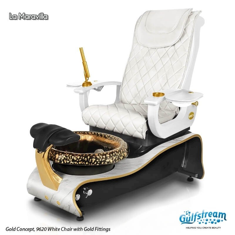 La Maravilla spa chair in gold concept, 9620 white with gold fittings