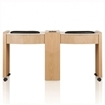 oak color double nail table