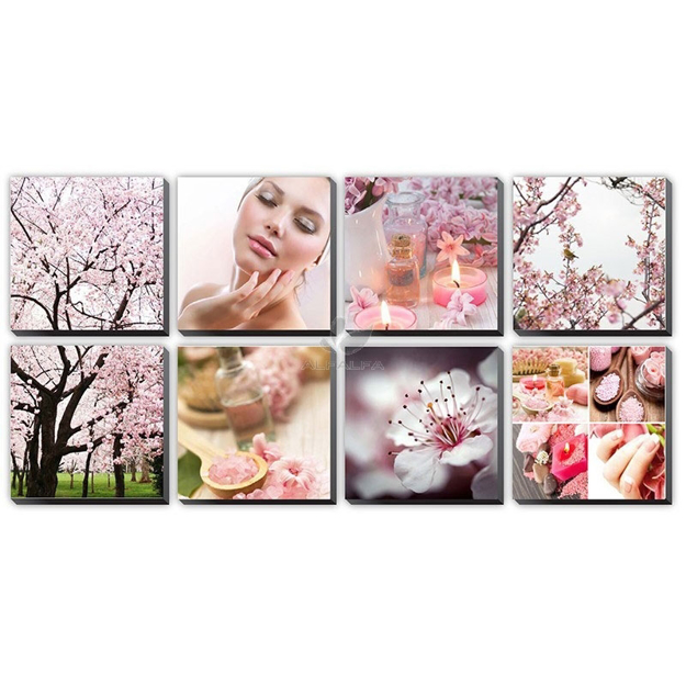 Picture of Pink Cherry Blossom Ensemble Canvas Mural