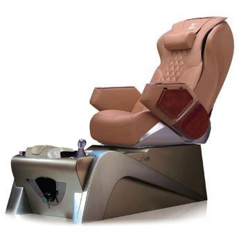 caramel color chair and silver color pedicure base