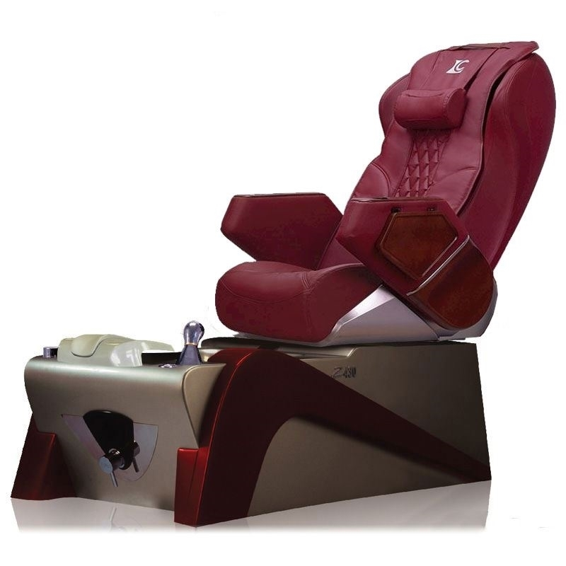 burgundy color chair and red color pedicure base