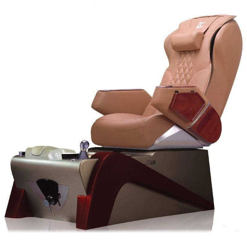 caramel color chair and red color pedicure base
