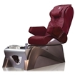 burgundy color chair and cafe latte color pedicure base