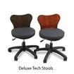 Echo LE deluxe technician stools in black and burgundy