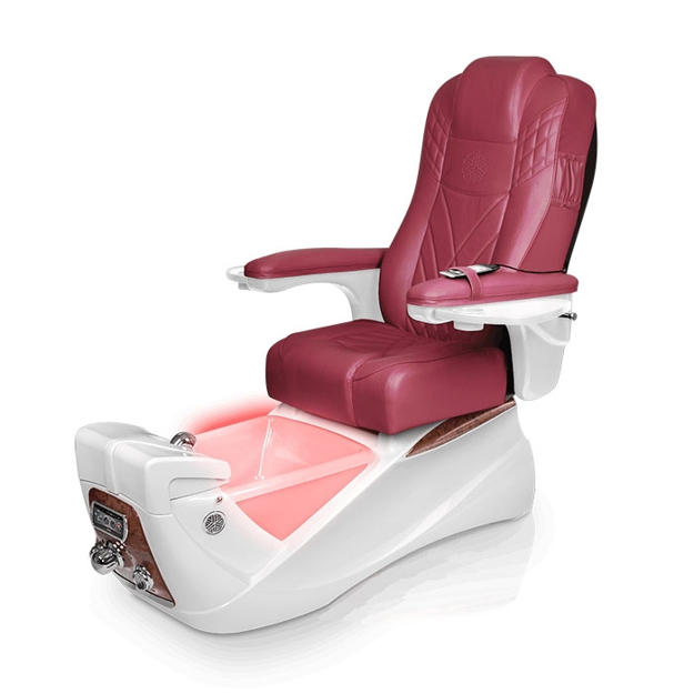 Lexor Infinity pedicure spa in white base and burgundy top chair