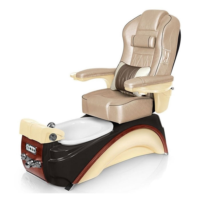 Elite pedicure spa in espresso / champagne base and glazed gold top chair