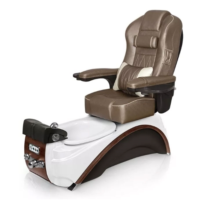 Elite pedicure spa in white pearl / espresso base and cola top chair