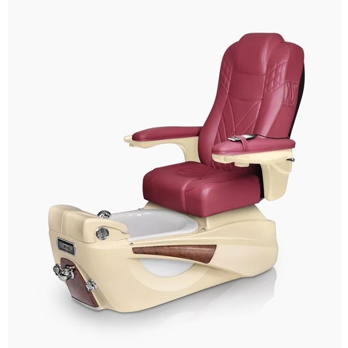 Luminous pedicure spa in champagne base and burgundy top chair