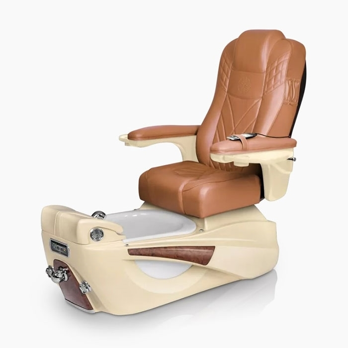Luminous pedicure spa in champagne base and cappuccino top chair