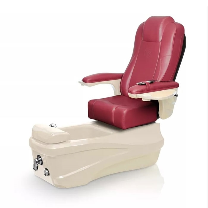 Versas pedicure spa in champagne base and burgundy chair
