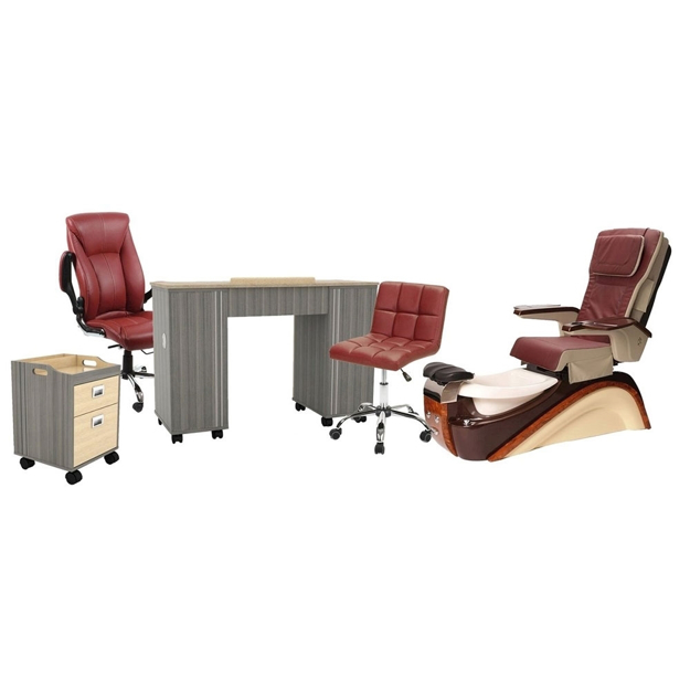 T812 pedicure chair and salon furniture in burgundy color