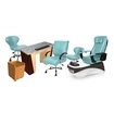 PSD-400 pedicure chair and salon furniture in neptune color