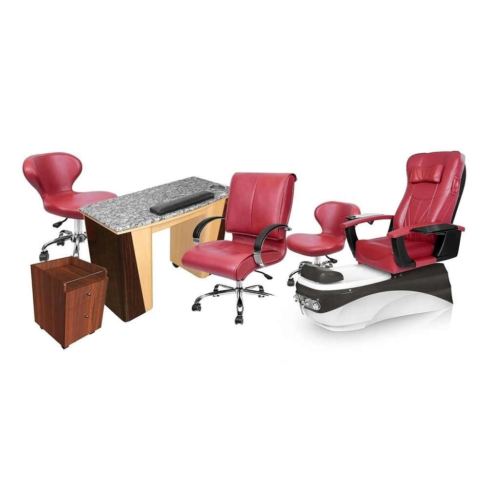 PSD-400 pedicure chair and salon furniture in burgundy color