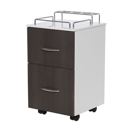 NV410 pedicure cart in dark walnut / white