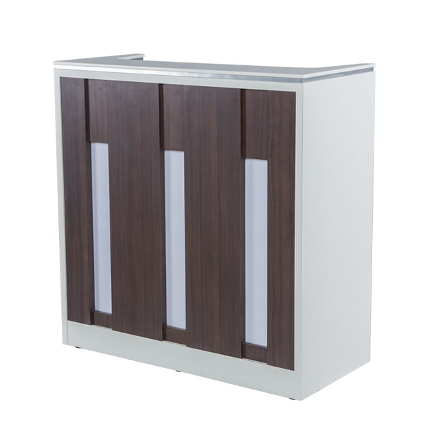 NV510 reception desk in white and dark walnut