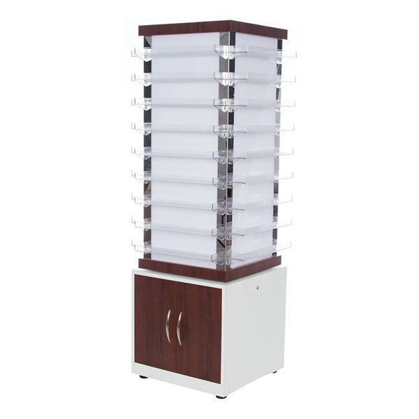 NV810 spinning polish cabinet in dark walnut and white color