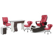 PSD-300 pedicure package includes PSD300 pedicure chair, NV310 nail table, NV410 pedi cart and Classic customer chairs and stools in burgundy color concept