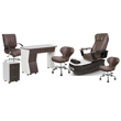 PSD-300 pedicure package includes PSD300 pedicure chair, NV310 nail table, NV410 pedi cart and Classic customer chairs and stools in brown color concept