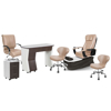 PSD-300 pedicure package includes PSD300 pedicure chair, NV310 nail table, NV410 pedi cart and Classic customer chairs and stools in acorn color concept