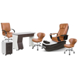 PSD-300 pedicure package includes PSD300 pedicure chair, NV310 nail table, NV410 pedi cart and Classic customer chairs and stools in cappuccino color concept