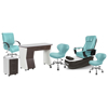 PSD-300 pedicure package includes PSD300 pedicure chair, NV310 nail table, NV410 pedi cart and Classic customer chairs and stools in neptune color concept