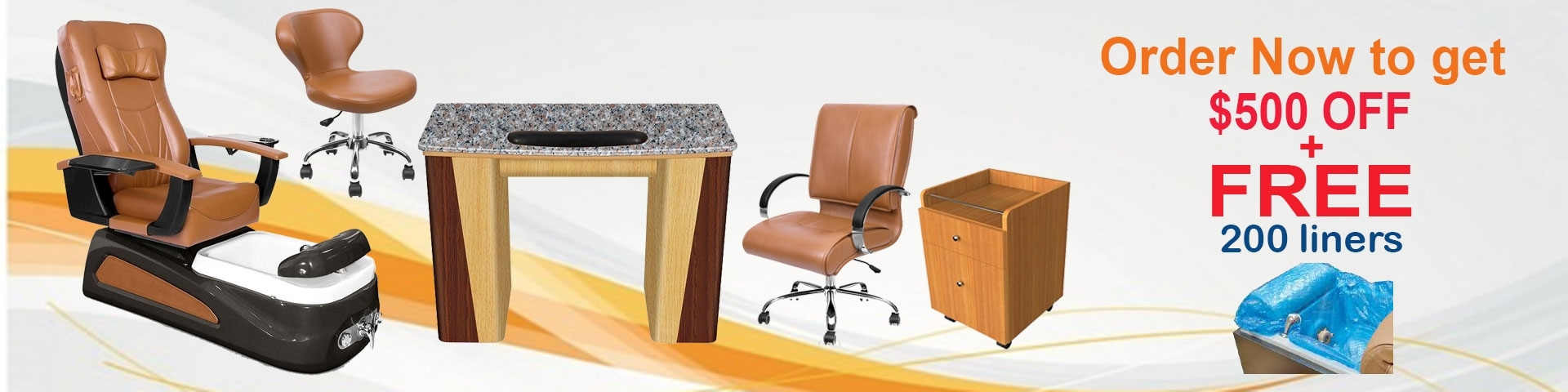 Promotional banner salon package: PSD-100 pedicure chair, VL-100 manicure table, Classic customer chairs and stools