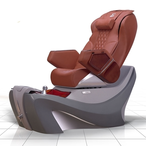 D7 pedicure chair in cool grey spa base and caramel top chair