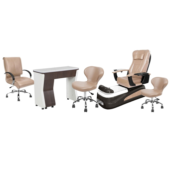 PSD-100 pedicure chair, NV310 nail table, Classic customer chair and stools in acorn color