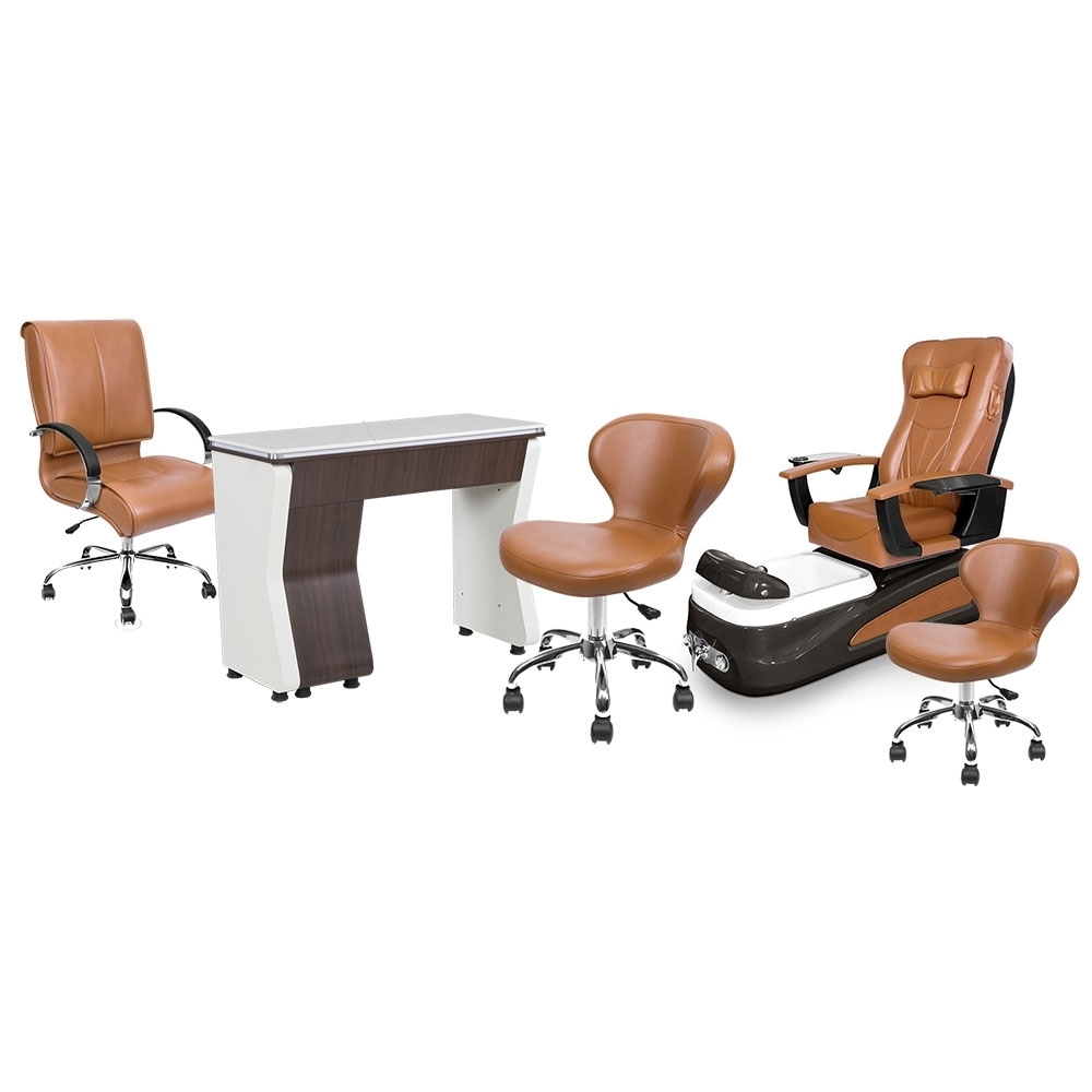 PSD-100 pedicure chair, NV310 nail table, Classic customer chair and stools in cappuccino color