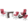 PSD-100 pedicure chair, NV310 nail table, Classic customer chair and stools in burgundy color