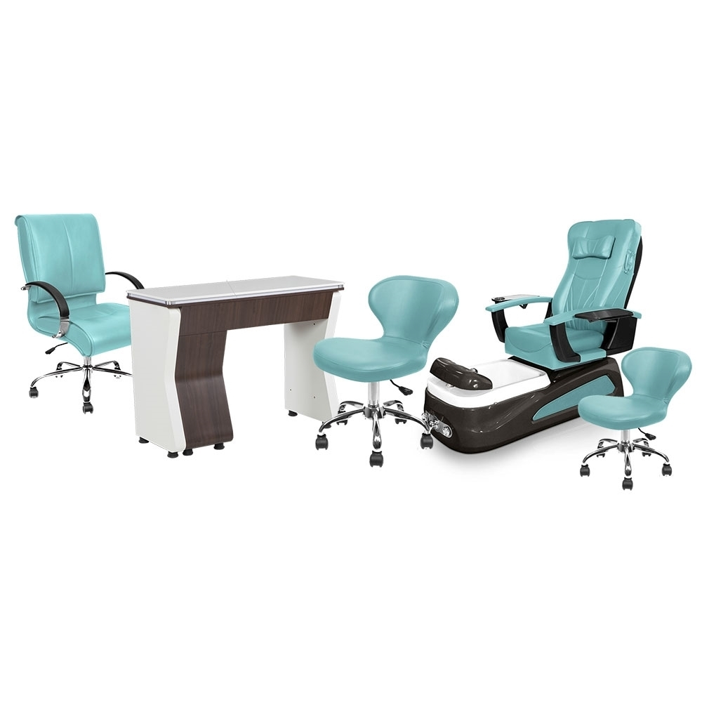 PSD-100 pedicure chair, NV310 nail table, Classic customer chair and stools in neptune color