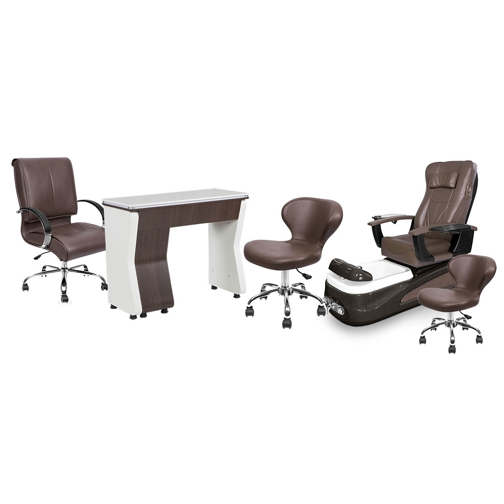 PSD-100 pedicure chair, NV310 nail table, Classic customer chair and stools in walnut color