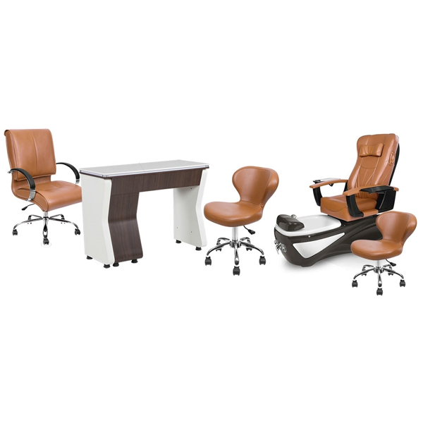 PSD200 pedicure chair, NV310 manicure table, Classic guest chair and stools in cappuccino color