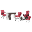 PSD200 pedicure chair, NV310 manicure table, Classic guest chair and stools in burgundy color