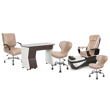 PSD200 pedicure chair, NV310 manicure table, Classic guest chair and stools in acorn color