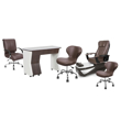 PSD200 pedicure chair, NV310 manicure table, Classic guest chair and stools in walnut color