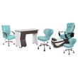 PSD200 pedicure chair, NV310 manicure table, Classic guest chair and stools in neptune color