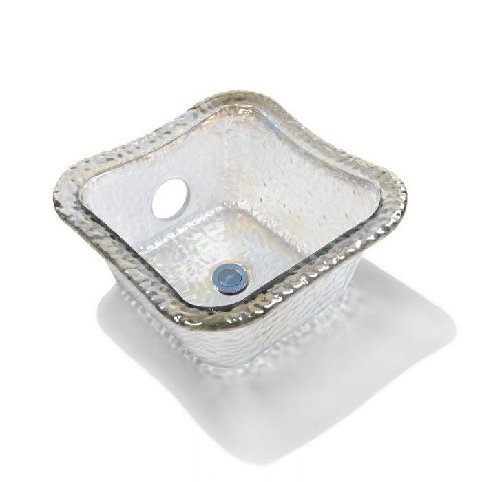 Crystal Square Glass Bowl For ANS Pedicure Chairs
