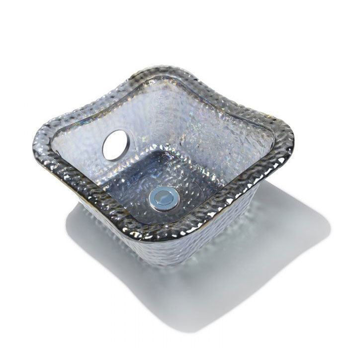Nickel Square Glass Bowl For ANS Pedicure Chairs