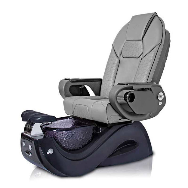 Gossip pedicure chair in black base and gray Throne massage chair