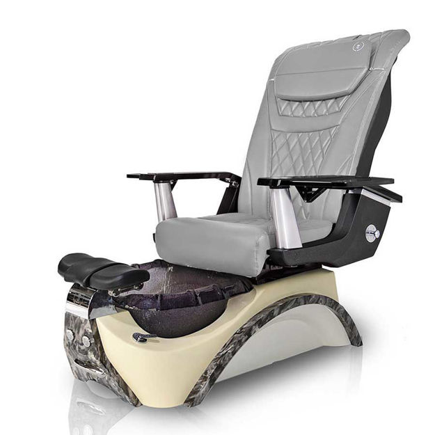 Mia pedicure chair in black base and gray T-timeless massage chair
