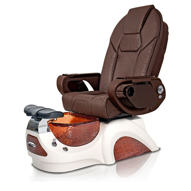 Noemi pedicure chair in amber base and chocolate Throne massage chair