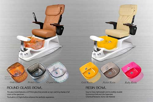 Argento pedicure chair bowl color option