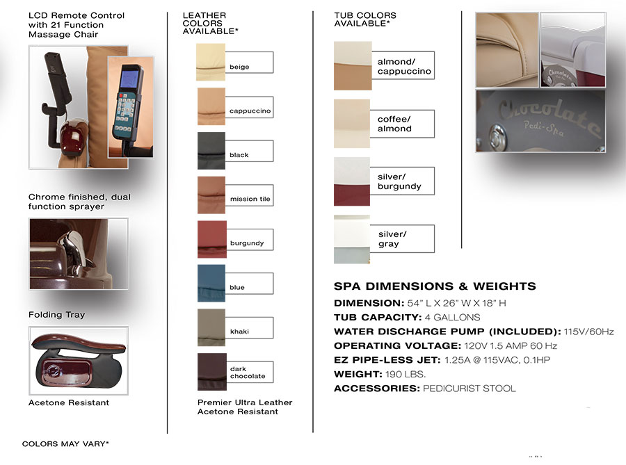 Chocolate 777 pedicure chair brochure